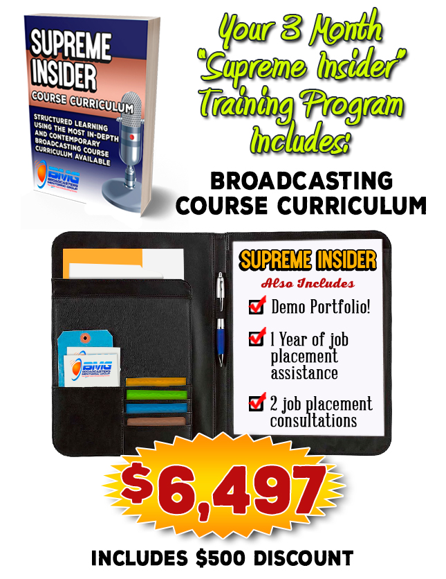 Info Graphic - Broadcasting Course Outline - 3 month radio training.